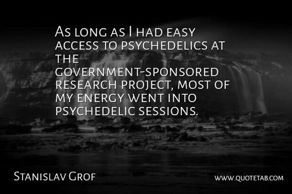 Stanislav Grof Quote About Government, Long, Research: As Long As I Had...