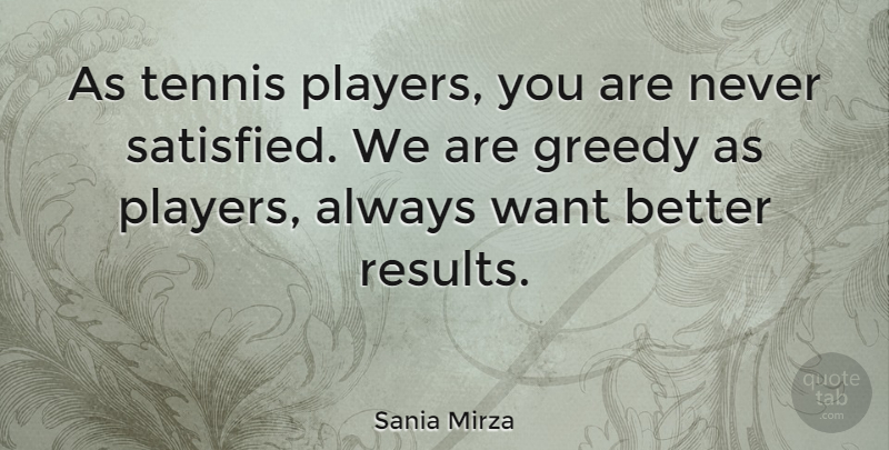 Sania Mirza Quote About Player, Tennis, Want: As Tennis Players You Are...