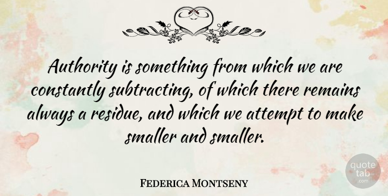 Federica Montseny Quote About Authority, Remains: Authority Is Something From Which...