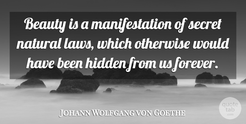 Johann Wolfgang von Goethe Quote About Beauty, Law, Secret Love: Beauty Is A Manifestation Of...