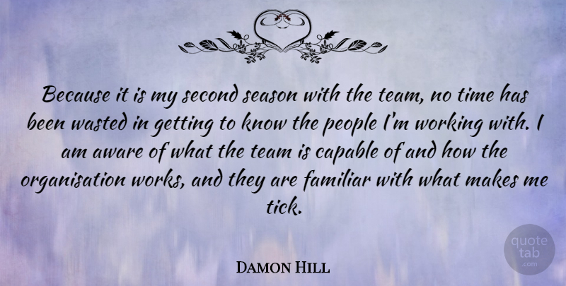 Damon Hill Quote About Team, Athlete, People: Because It Is My Second...