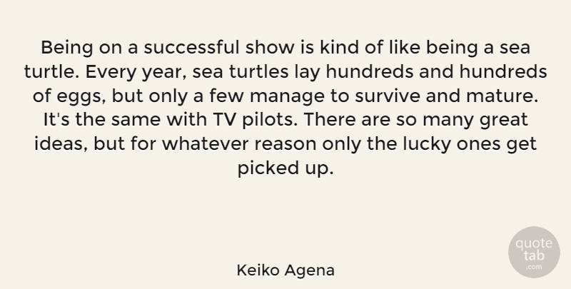 Keiko Agena Quote About Few, Great, Lay, Lucky, Manage: Being On A Successful Show...