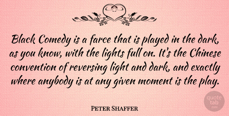 Peter Shaffer Quote About Dark, Light, Play: Black Comedy Is A Farce...