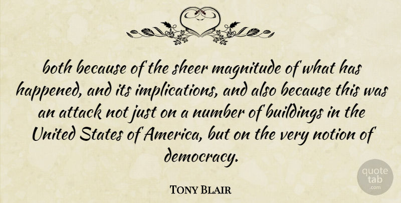 Tony Blair Quote About Attack, Both, Buildings, Magnitude, Notion: Both Because Of The Sheer...