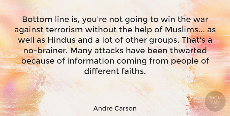 Andre Carson Quote About Against, Attacks, Bottom, Coming, Hindus: Bottom Line Is Youre Not...