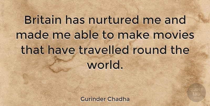 Gurinder Chadha Quote About Movies, Nurtured, Travelled: Britain Has Nurtured Me And...