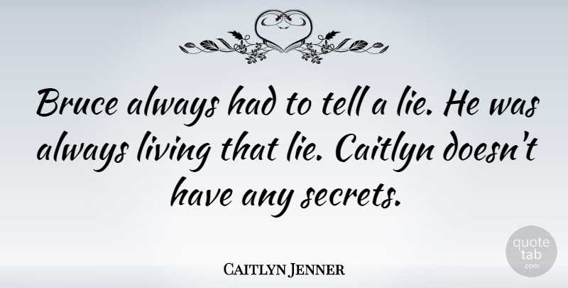 Caitlyn Jenner Quote About Bruce, Living: Bruce Always Had To Tell...