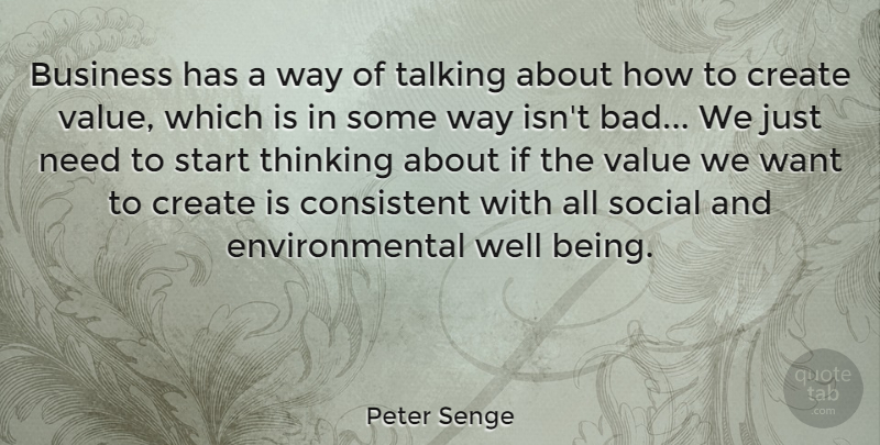 Peter Senge Quote About Thinking, Talking, Environmental: Business Has A Way Of...