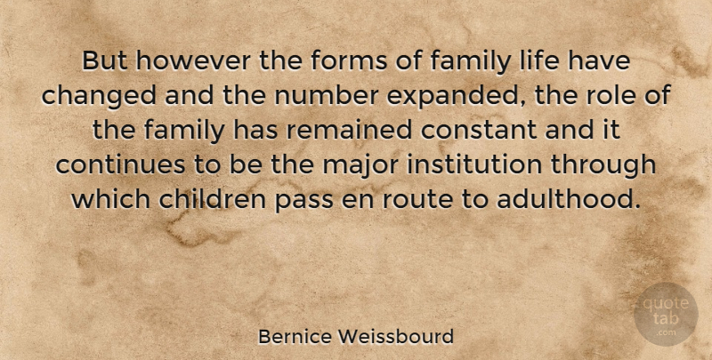 Bernice Weissbourd Quote About Changed, Children, Constant, Continues, Family: But However The Forms Of...