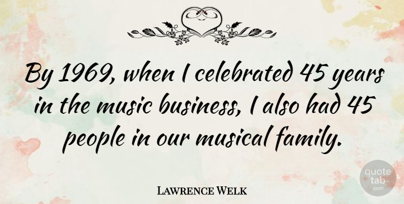 Lawrence Welk Quote About Business, Years, People: By 1969 When I Celebrated...