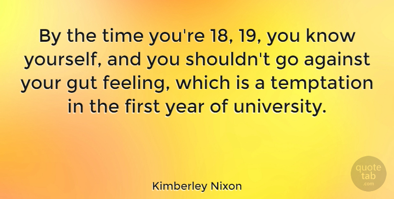 Kimberley Nixon Quote About Against, Gut, Time, Year: By The Time Youre 18...