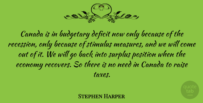 Stephen Harper Quote About Needs, Canada, Economy: Canada Is In Budgetary Deficit...
