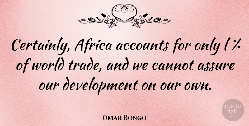 Omar Bongo Quote About Development, World, Trade: Certainly Africa Accounts For Only...