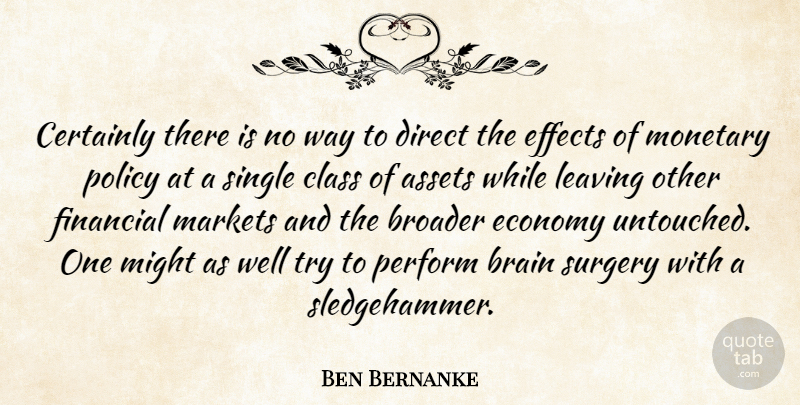 Ben Bernanke Quote About Assets, Brain, Broader, Certainly, Class: Certainly There Is No Way...