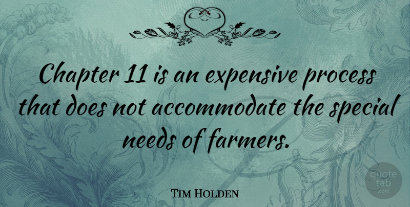 Tim Holden Quote About Chapter, Expensive, Needs: Chapter 11 Is An Expensive...