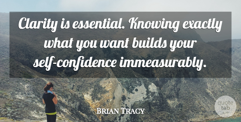Brian Tracy Quote About Self Confidence, Knowing, Want: Clarity Is Essential Knowing Exactly...