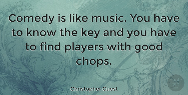 Christopher Guest Quote About Player, Keys, Comedy: Comedy Is Like Music You...