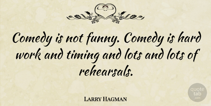 Larry Hagman: Comedy is not funny  Comedy is hard work and timing