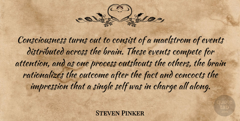 Steven Pinker Quote About Self, Brain, Attention: Consciousness Turns Out To Consist...