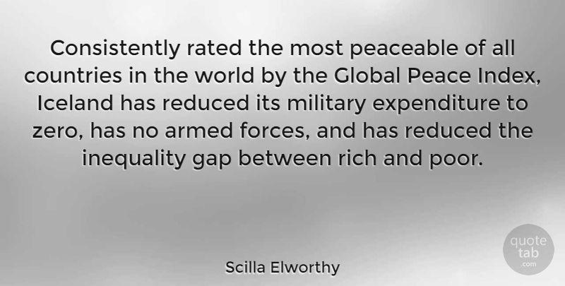 Scilla Elworthy Quote About Armed, Countries, Gap, Global, Iceland: Consistently Rated The Most Peaceable...