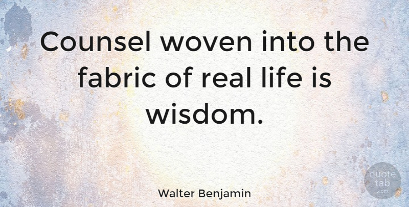 Walter benjamin counsel woven into the fabric of real for The fabric of reality