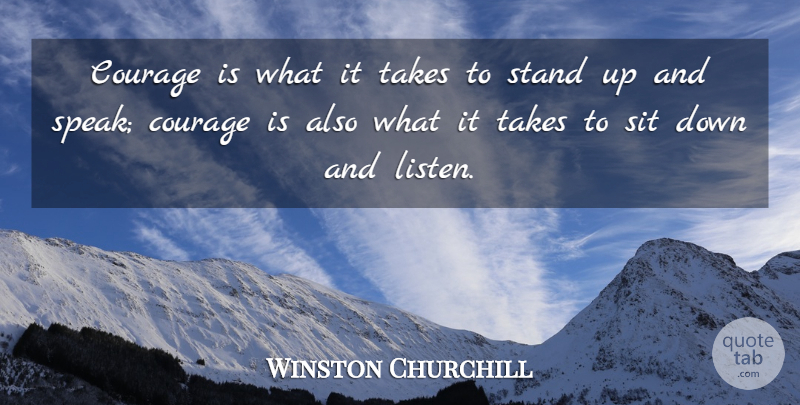 Winston Churchill Quote About Motivational, Strength, Inspiring: Courage Is What It Takes...