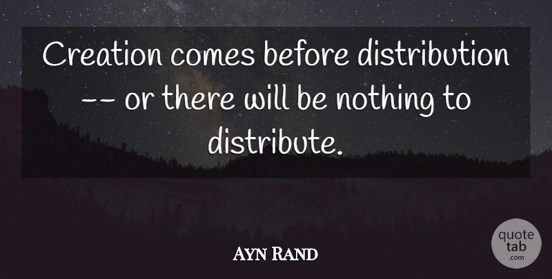 Ayn Rand Quote About Political, Fountainhead, Creation: Creation Comes Before Distribution Or...