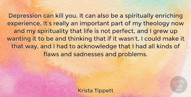 Krista Tippett Quote About Sadness, Thinking, Perfect: Depression Can Kill You It...