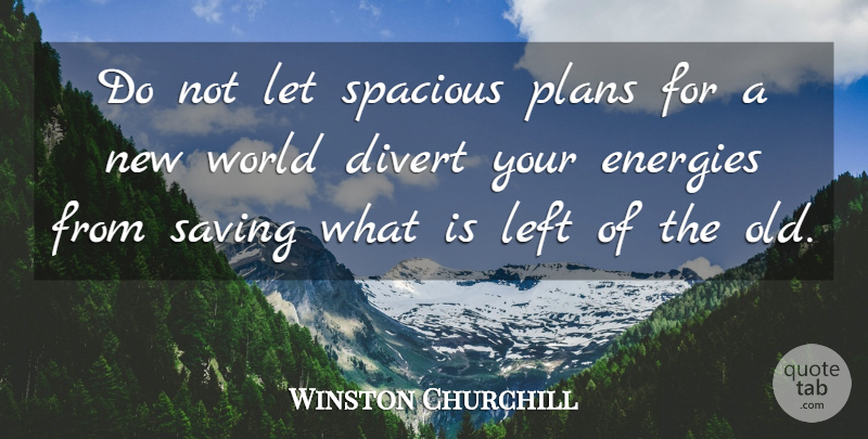 Winston Churchill Quote About World, Saving, Energy: Do Not Let Spacious Plans...