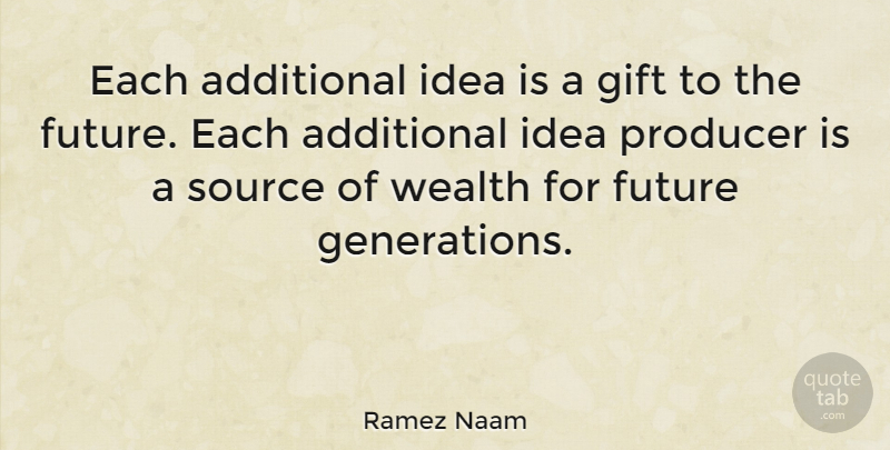 Ramez Naam Quote About Additional, Future, Producer, Source: Each Additional Idea Is A...