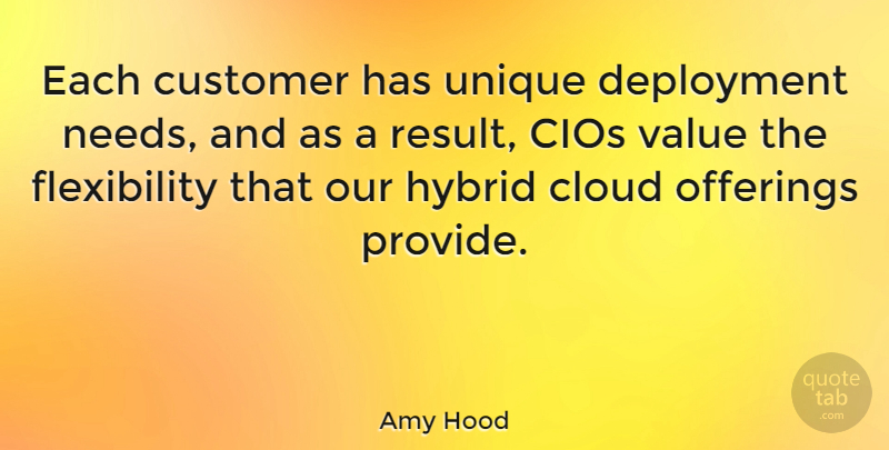 Amy Hood Quote About Cloud, Hybrid: Each Customer Has Unique Deployment...