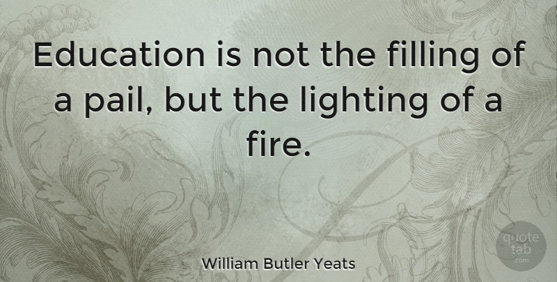 William Butler Yeats Quote About Inspirational, Motivational, Graduation: Education Is Not The Filling...