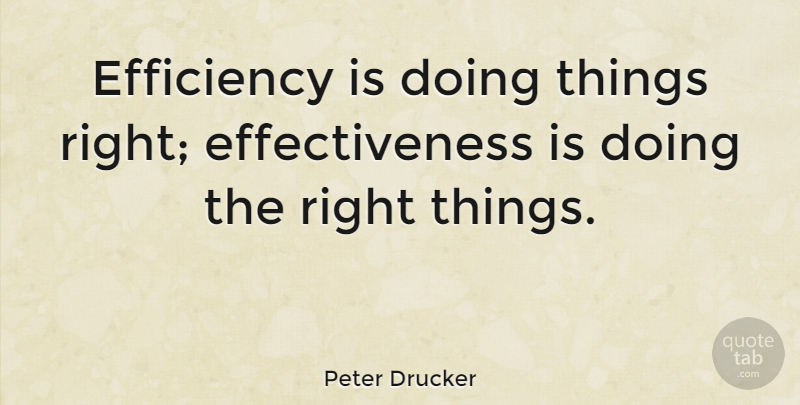 Peter Drucker Efficiency Is Doing Things Right Effectiveness Is