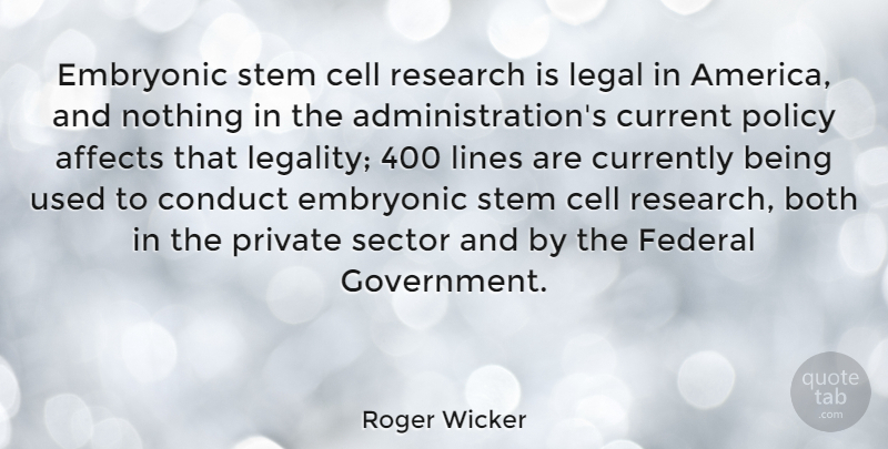 Roger Wicker Quote About Affects, Both, Cell, Conduct, Current: Embryonic Stem Cell Research Is...