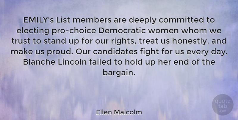 Ellen Malcolm Quote About Fighting, Rights, Choices: Emilys List Members Are Deeply...