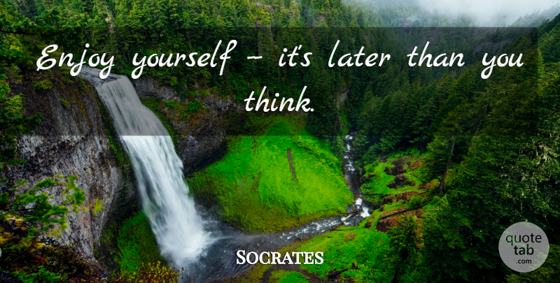 Socrates Quote About Enjoy, Enjoyment, Later: Enjoy Yourself Its Later Than...