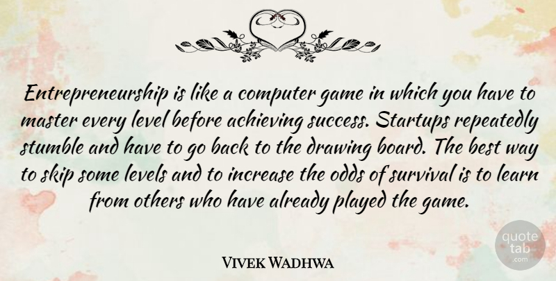 Vivek Wadhwa Quote About Best, Computer, Drawing, Game, Increase: Entrepreneurship Is Like A Computer...