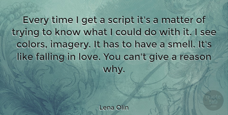 Lena Olin Quote About Falling In Love, Love You, Color: Every Time I Get A...