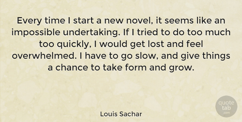 Louis Sachar Quote About Chance, Form, Impossible, Lost, Seems: Every Time I Start A...