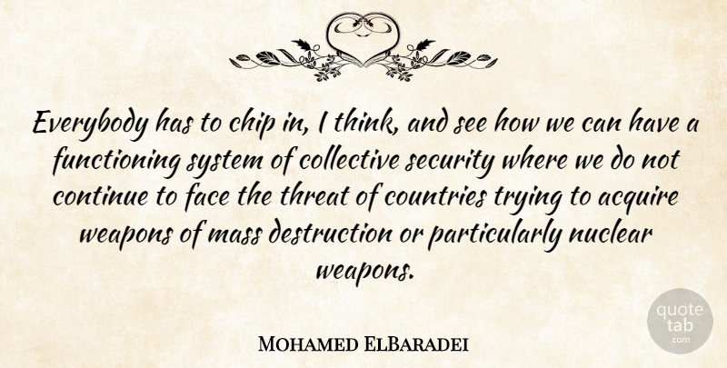 Mohamed ElBaradei Quote About Acquire, Chip, Collective, Continue, Countries: Everybody Has To Chip In...