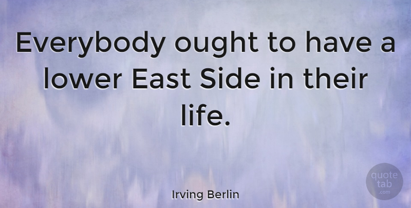 Irving Berlin Quote About Music, New York, East Berlin: Everybody Ought To Have A...