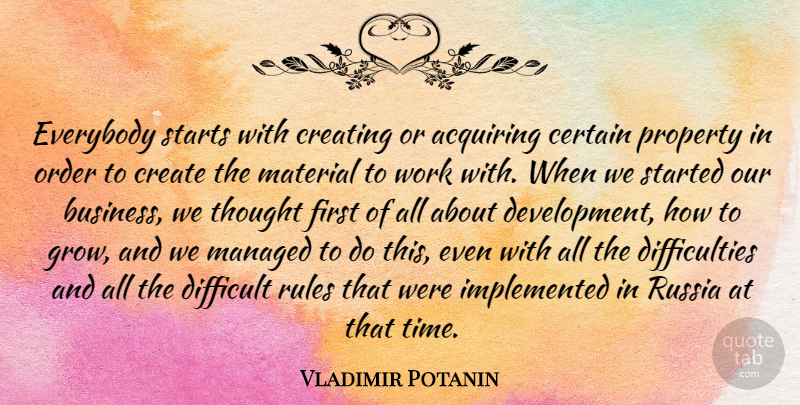 Vladimir Potanin Quote About Acquiring, Business, Certain, Create, Creating: Everybody Starts With Creating Or...