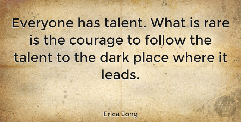 Erica Jong Quote About Inspirational, Life, Success: Everyone Has Talent What Is...