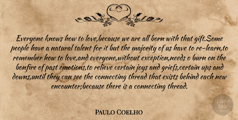 Paulo Coelho Quote About Grief, Past, Natural Talent: Everyone Knows How To Lovebecause...