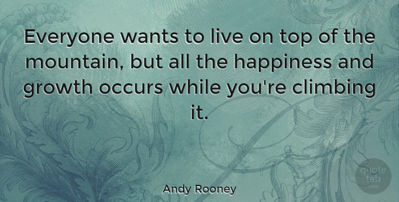 Andy Rooney Quote About Inspirational, Happiness, Being Happy: Everyone Wants To Live On...