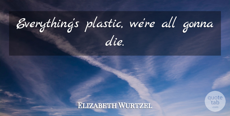 Elizabeth Wurtzel Quote About Plastic, Dies: Everythings Plastic Were All Gonna...