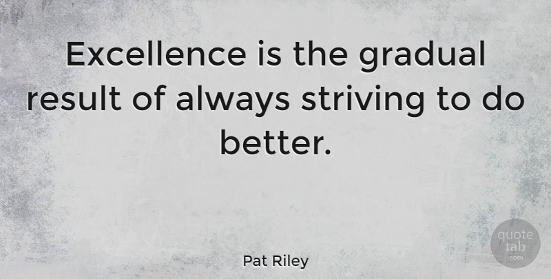 Pat Riley Excellence Is The Gradual Result Of Always Striving To Do Awesome Excellence Quotes