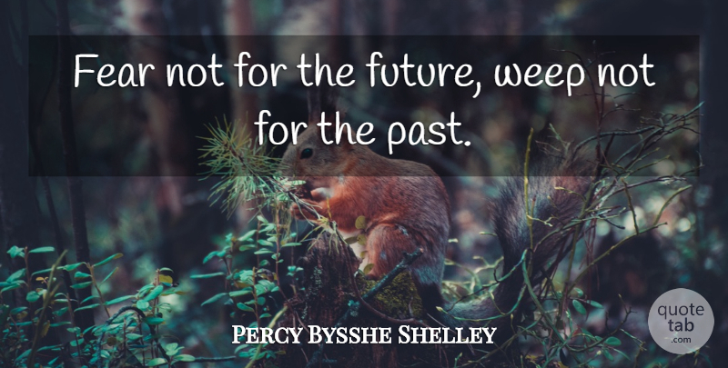 Percy Bysshe Shelley Quote About Positive, Fear, Moving Forward: Fear Not For The Future...
