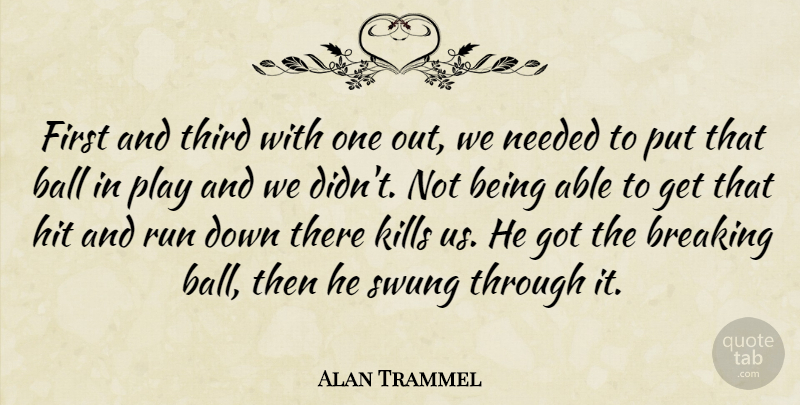 Alan Trammel Quote About Ball, Breaking, Hit, Needed, Run: First And Third With One...