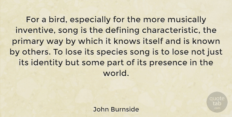 John Burnside Quote About Defining, Itself, Known, Knows, Lose: For A Bird Especially For...